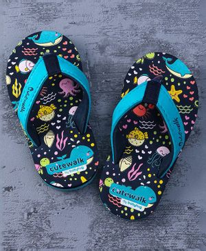 Cute Walk by Babyhug Flip Flops Aquatic Animal Print - Navy Blue