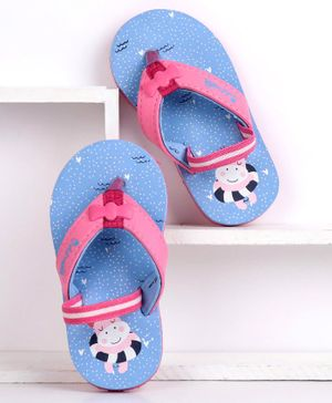 Cute Walk by Babyhug Flip Flops With Back Strap Hippo Print - Blue