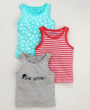 Babyoye Sleeveless Cotton Vests Striped & Printed Pack of 3 - Grey Red Blue