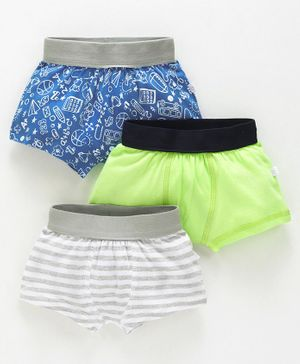 Babyoye Cotton Boxers Pack of 3 Striped Solid Color & Printed - Blue Green Grey