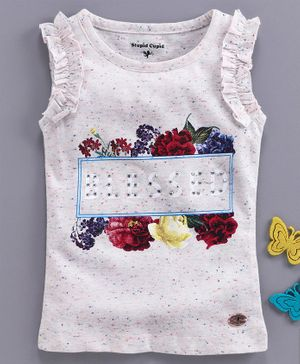 Stupid Cupid Sleeveless Flower Print Heather Top - Off White