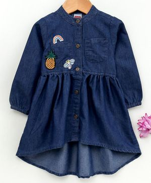Babyhug Full Sleeves Denim Frock Rainbow & Pineapple Patch - Dark Blue