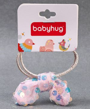 Babyhug Hair Rubber With Sequin Bow Applique - Pink