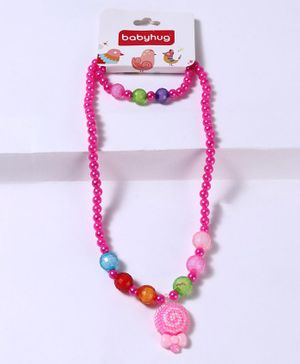 Babyhug Bracelet And Necklace Floral Motif - Pink