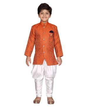 Aj Dezines Small Jacquard Print Full Sleeves Sherwani & Dhoti Set - Orange