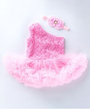 Pre Order - Awabox Flower Applique Sleeveless One Shoulder Frill Onesie With Headband - Pink