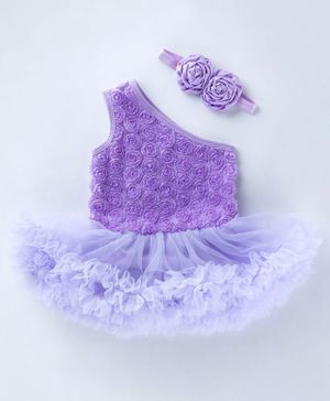 Pre Order - Awabox Flower Applique Sleeveless One Shoulder Frill Onesie With Headband - Purple