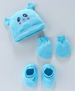 Babyhug 100 % Cotton Cap Mittens & Booties Cat Print - Blue