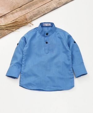 Knotty Kids Solid Full Sleeves Shirt - Blue