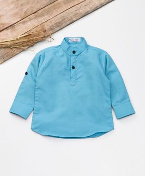 Knotty Kids Solid Full Sleeves Shirt - Light Blue