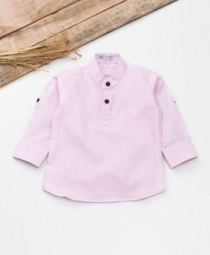 Knotty Kids Solid Full Sleeves Shirt - Pink