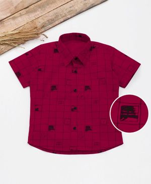 Knotty Kids Half Sleeves Checked Shirt - Red