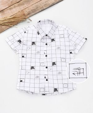 Knotty Kids Half Sleeves Checked Shirt - White