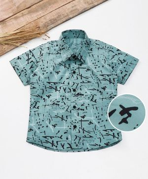 Knotty Kids Stroke Print Half Sleeves Shirt  - Blue