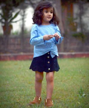 Piccolo Solid Full Sleeves Top With Front Knot Detail & Button Down Skirt - Blue