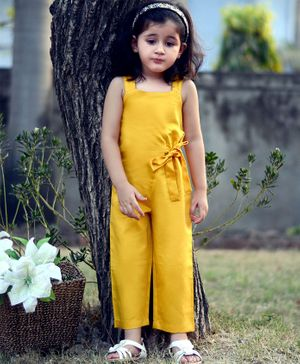 Piccolo Sleeveless Solid Full Length Jumpsuit - Yellow