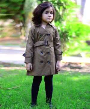 Piccolo Full Sleeves Front Belt Jacket Dress - Green