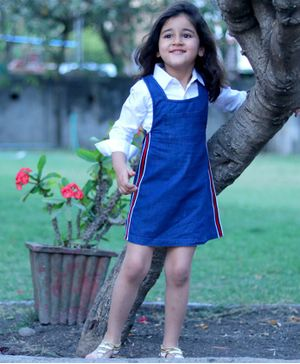 Piccolo Full Sleeves Shirt With Side Tapped Dungaree Style Dress - Blue & White