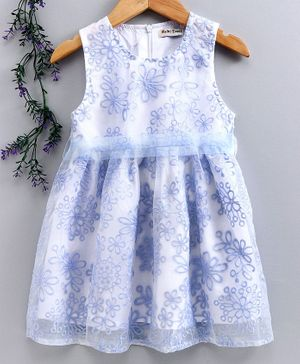 Reiki Trees Sleeveless Frock Floral Embroidered - Blue White
