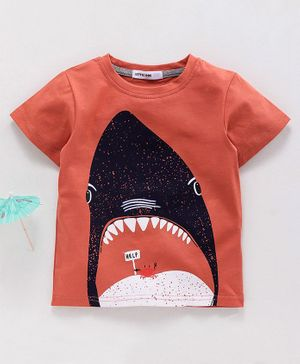 Little One Half Sleeves Tee Shark Print - Orange
