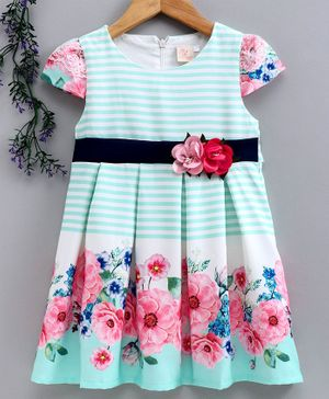 Smile Rabbit Cap Sleeves Striped Frock With Floral Belt - Sea Green