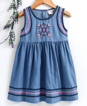 Smile Rabbit Sleeveless Frock Floral Embroidery - Light Blue