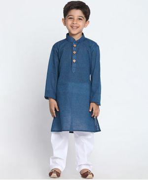 JBN Creation Solid Full Sleeves Kurta & Pyjama Set - Blue