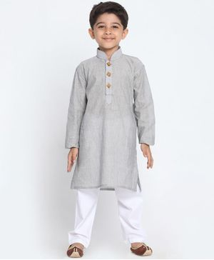 JBN Creation Solid Full Sleeves Kurta & Pyjama Set - Grey