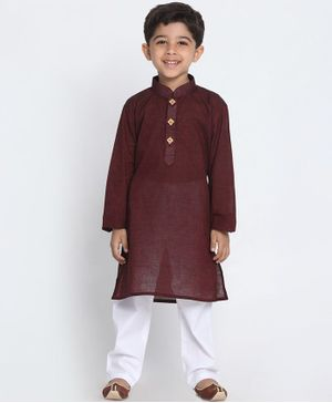 JBN Creation Solid Full Sleeves Kurta & Pyjama Set - Maroon