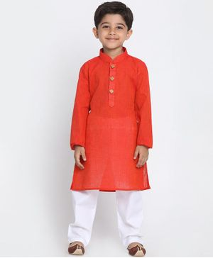 JBN Creation Solid Full Sleeves Kurta & Pyjama Set - Red