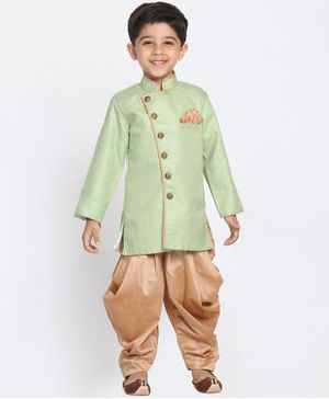 JBN Creation Solid Full Sleeves Sherwani & Dhoti Set - Green