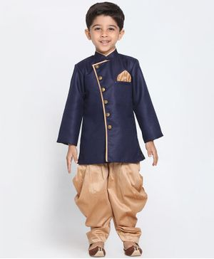 JBN Creation Solid Full Sleeves Sherwani & Dhoti Set - Navy Blue