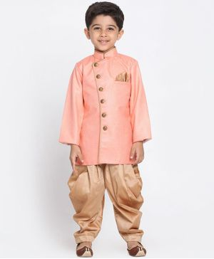 JBN Creation Solid Full Sleeves Sherwani & Dhoti Set - Pink