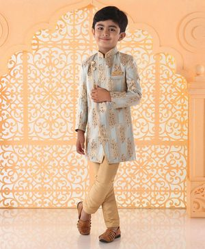 Babyhug Full Sleeves Self Design Sherwani & Solid Pyjama - Beige