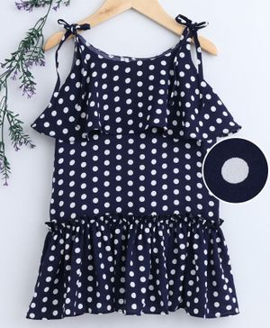 Little One Singlet Frock Polka Dot Print - Navy Blue