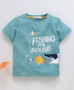 Little One Half Sleeves Tee Fish Print - Aqua Green