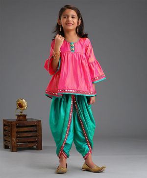 Saka Designs Three Fourth Sleeves Kurta & Dhoti Set - Pink & Green