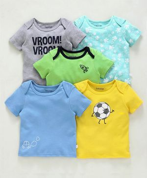 Babyoye Half Sleeves Cotton Striped & Printed Tee Pack of 5 - Green