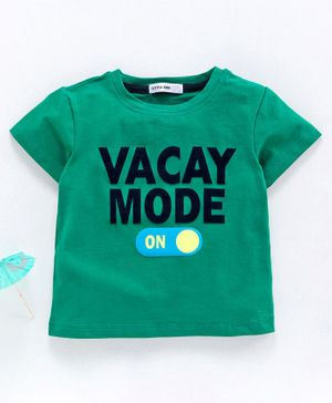 Little One Half Sleeves Tee Vacay Print - Green