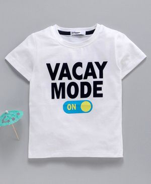 Little One Half Sleeves Tee Vacay Print - White