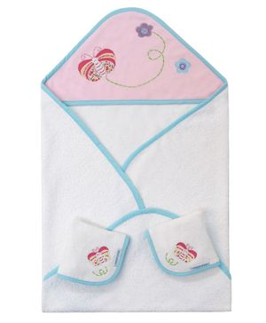 Abracadabra Hooded Towel & Face Cloth Set Butterfly Print - Pink