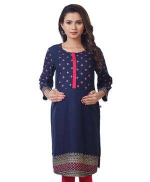 Kriti Three Fourth Sleeves Floral Maternity Kurti With Designer Border  - Navy Blue
