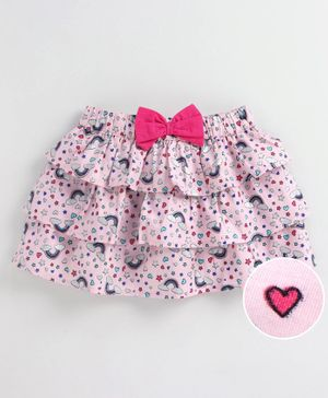 Babyoye Cotton Frilled Skirt Multi Print & Bow Applique - Pink