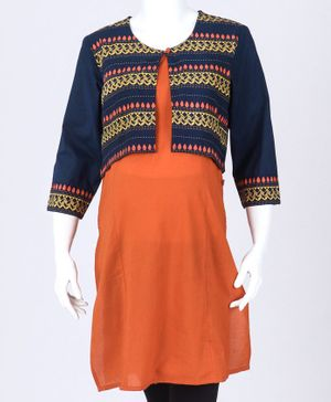 Kriti Three Fourth Sleeves Printed Maternity Kurta - Orange Navy Blue