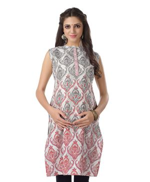 Kriti Sleeveless Printed Maternity Kurta - Off White Grey