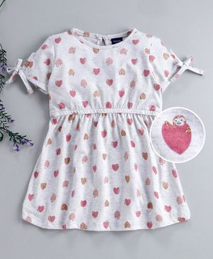 Mabaojd Half Sleeves Frock Heart Print - Grey