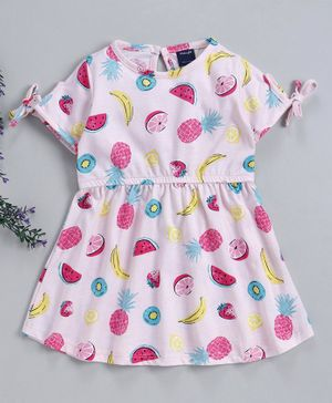 Mabaojd Half Sleeves Frock Fruit Print - Light Pink