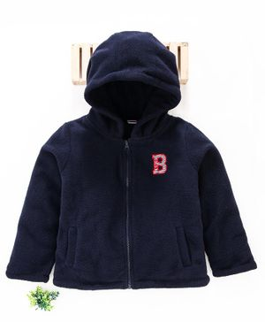 Babyhug Full Sleeves Hooded Sweat Jacket B Alphabet Patch - Navy Blue