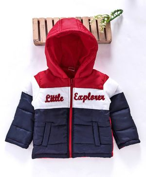Babyhug Full Sleeves Padded Jacket Colour Block Pattern - Red