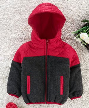 Babyhug Full Sleeves Hooded Padded Jacket - Red